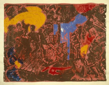 Jorg Immendorff (German, 1945 - 2007). <em>Folgen (Obey/Follow), plate 4 from Cafe Deutschland Gut</em>, 1983. Linocut with hand coloring and pencil border, Sheet: 71 1/8 x 90 3/16 in. (180.6 x 229 cm). Brooklyn Museum, Designated Purchase Fund, 84.241. © artist or artist's estate (Photo: Brooklyn Museum, 84.241_SL1.jpg)