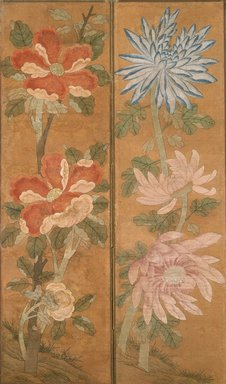 <em>Flowers</em>, 19th century. Ink and light color on paper, mounted on cloth, 69 3/8 x 76 in.  (176.2 x 193.0 cm). Brooklyn Museum, Gift of Robert S. Anderson, 84.244.11 (Photo: Brooklyn Museum, 84.244.11_view2_SL1.jpg)