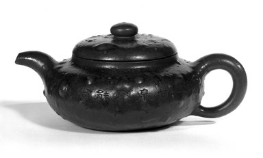 "<em>Teapot</em>, late 19th-early 20th century. ""Purple clay"" (zisha) earthenware, Height with lid: 3 11/16 in. (9.3 cm). Brooklyn Museum, Gift of Robert S. Anderson, 84.244.17a-b. Creative Commons-BY (Photo: Brooklyn Museum, 84.244.17a-b_bw.jpg)"
