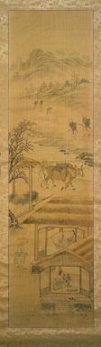 Kim Yun-bo (Korean). <em>Farming</em>, late 19th-early 20th century. Ink and light color on silk, Image: 44 11/16 x 13 3/16 in. (113.5 x 33.5 cm). Brooklyn Museum, Gift of Robert S. Anderson, 84.244.8 (Photo: Brooklyn Museum, 84.244.8.jpg)