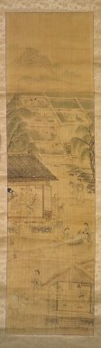 Kim Yun-bo (Korean). <em>Farming</em>, late 19th-early 20th century. Ink and light color on silk, Image: 47 13/16 x 13 1/16 in. (121.4 x 33.2 cm). Brooklyn Museum, Gift of Robert S. Anderson, 84.244.9 (Photo: Brooklyn Museum, 84.244.9.jpg)