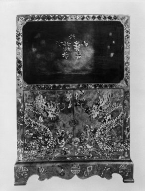 <em>Etagere</em>, 18th century. Wood, inlaid with tortoise shell, 35 3/4 x 25 x 14 3/4  in.  (90.8 x 63.5 x 37.5 cm). Brooklyn Museum, Gift of Mr. and Mrs. Oscar Hechter, 84.253. Creative Commons-BY (Photo: Brooklyn Museum, 84.253_front_bw.jpg)