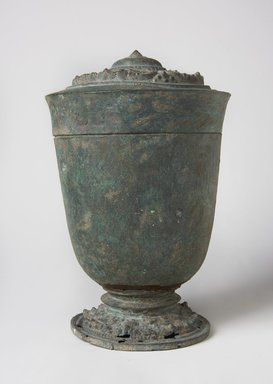 <em>Temple Jar and Lid</em>, 13th-15th century. Bronze, mount (display dimensions including deck mount): 9 1/2 × 6 1/2 × 6 1/2 in. (24.1 × 16.5 × 16.5 cm). Brooklyn Museum, Gift of Dr. Jack Hentel, 84.254.2. Creative Commons-BY (Photo: Brooklyn Museum, 84.254.2_PS11.jpg)