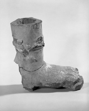<em>Foot and Lower Leg of a Life-Size Guardian Figure</em>, 14th century. Purple-gray stoneware, 9 x 8 in. (22.9 x 20.3 cm). Brooklyn Museum, Gift of Dr. Jack Hentel, 84.254.3a-b. Creative Commons-BY (Photo: Brooklyn Museum, 84.254.3a-b_bw.jpg)