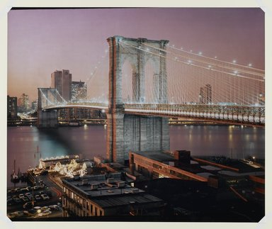 Paula Barr (American, born 1945). <em>Brooklyn Bridge</em>, 1983. Silver dye bleach photograph (Cibachrome), image/sheet: 20 x 40 in. (50.8 x 101.6 cm). Brooklyn Museum, Carll H. de Silver Fund, 84.26.3. © artist or artist's estate (Photo: Brooklyn Museum, 84.26.3_PS1.jpg)