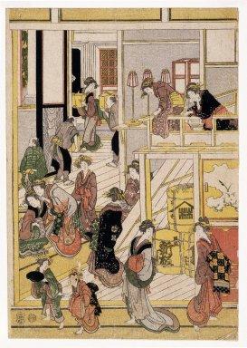 Katsushika Hokusai (Japanese, 1760-1849). <em>New Year's Day at the Ogiya Brothel, Yoshiwara</em>, ca. 1810. Polyptych of polychrome woodblock prints; ink and color on paper, Each sheet 14 x 10 in. (35.6 x 25.4 cm). Brooklyn Museum, Gift of Herbert Libertson, 84.260a-d (Photo: Brooklyn Museum, 84.260a_print_IMLS_SL2.jpg)