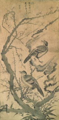Songha (Korean). <em>Flowers and Birds</em>, late 19th-early 20th century. Ink and light color on paper, Overall: 54 x 21 3/4 in. (137.2 x 55.2 cm). Brooklyn Museum, Gift of Dr. and Mrs. John P. Lyden, 84.261.2 (Photo: Brooklyn Museum, 84.261.2.jpg)