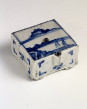 <em>Water Dropper</em>, last half of 19th century. Porcelain with cobalt blue underglaze decoration, Height: 1 1/4 in. (3.2 cm). Brooklyn Museum, Gift of John M. Lyden, 84.262.36. Creative Commons-BY (Photo: Brooklyn Museum, 84.262.36.jpg)