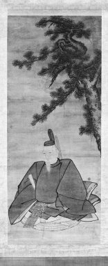 Unkoku Togan (Japanese, 1547-1618). <em>Portrait of a Court Official</em>, late 16th-early 17th century. Hanging scroll, ink and light color on paper, exlusive of mounting: 45 1/8 x 18 7/8 in. (114.6 x 47.9 cm). Brooklyn Museum, Gift of Dr. Ellen Pan, 84.264 (Photo: Brooklyn Museum, 84.264_bw_IMLS.jpg)