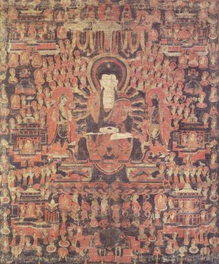 <em>Amitabha in the Western Paradise</em>, late 15th century. Color and gold on cloth, Image: 26 1/2 x 22 in. Brooklyn Museum, Gift of Mr. and Mrs. Robert L. Poster, 84.265 (Photo: Image courtesy of the Shelley and Donald Rubin Foundation, George Roos,er, 84.265.jpg)