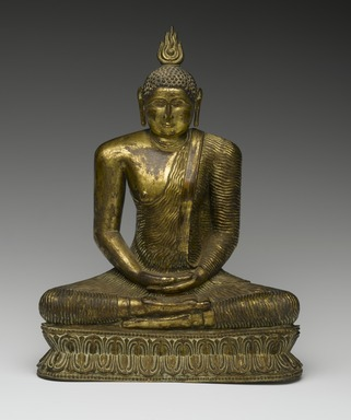 <em>Seated Buddha</em>, 18th century. Gilt bronze, 9 1/2 x 7 1/4 x 3 1/2 in. (24.1 x 18.4 x 8.9 cm). Brooklyn Museum, Gift of Dr. Bertram H. Schaffner, 84.267.1. Creative Commons-BY (Photo: Brooklyn Museum, 84.267.1_front_PS2.jpg)