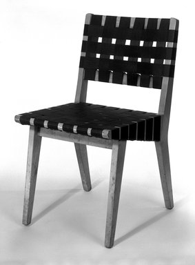 Jens Risom (American, born Denmark, 1916-2016). <em>Side Chair (Model 666WSP)</em>, 1941-1942. Birch, webbing, 30 3/4 x 17 1/4 x 21 1/4 in. (78.1 x 43.8 x 54 cm). Brooklyn Museum, Gift of Geoffrey N. Bradfield, 84.274. Creative Commons-BY (Photo: Brooklyn Museum, 84.274_bw_IMLS.jpg)
