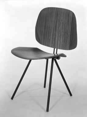 Osvaldo Borsani (Italian, born Switzerland, 1911-1985). <em>Folding Chair (Model S88)</em>, ca. 1955. Laminated teak covered plywood and steel, 31 1/8 x 17 3/4 x 19 7/8 in. (79.1 x 45.1 x 50.5 cm). Brooklyn Museum, Gift of Barry Friedman, 84.275.1. Creative Commons-BY (Photo: Brooklyn Museum, 84.275.1_bw.jpg)