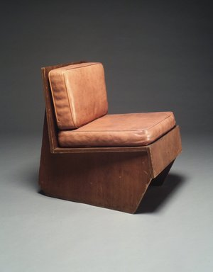 Frank Lloyd Wright (American, 1867-1959). <em>Chair</em>, ca. 1940. Laminated plywood, vinyl, 28 x 21 x 28 in. (71.1 x 53.3 x 71.1 cm). Brooklyn Museum, Gift of I. Wistar Morris, III, 84.279a-c. Creative Commons-BY (Photo: Brooklyn Museum, 84.279_transp2792.jpg)
