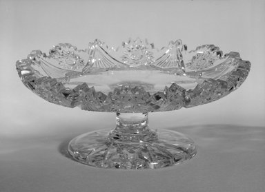 Dorflinger Glass Works. <em>Candy or Nut Dish</em>, ca. 1880. Blown and heavy cut glass, 2 1/2 x 3 5/16 x 6 1/4 in. (6.4 x 8.5 x 15.9 cm). Brooklyn Museum, Gift of Kay Dorflinger Manchee, 84.281. Creative Commons-BY (Photo: Brooklyn Museum, 84.281_bw.jpg)