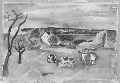 William Zorach (American, born Lithuania, 1887-1966). <em>Landscape with House and Cows</em>, 1927. Watercolor on paper, 15 1/4 x 22 1/4 in. (38.7 x 56.5 cm). Brooklyn Museum, Gift of Basil Shanahan, 84.298.1. © artist or artist's estate (Photo: Brooklyn Museum, 84.298.1_bw.jpg)