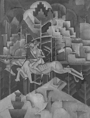 William Zorach (American, born Lithuania, 1887-1966). <em>Equestrian</em>, ca. 1913. Oil on canvas, frame: 27 1/2 x 22 1/2 in. (69.9 x 57.2 cm). Brooklyn Museum, Gift of Basil Shanahan, 84.298.3. © artist or artist's estate (Photo: Brooklyn Museum, 84.298.3_bw.jpg)