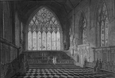 Joseph Mallord William Turner (British, 1775-1851). <em>The Chapel, Merton College, Oxford</em>, n.d. Watercolor over traces of graphite on paper, sheet/composition: 12 3/8 x 17 3/4 in. (31.4 x 45.1 cm). Brooklyn Museum, Gift of Mr. and Mrs. Morton Ostrow, 84.306.3 (Photo: Brooklyn Museum, 84.306.3_bw.jpg)
