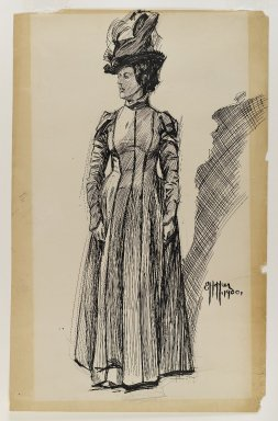 Edward Hopper (American, 1882-1967). <em>Standing Female Figure</em>, 1900. Black ink and graphite on thick, smooth, beige colored wove paper, Sheet: 22 9/16 x 14 5/16 in. (57.3 x 36.4 cm). Brooklyn Museum, Gift of Mr. and Mrs. Morton Ostrow, 84.306.6. © artist or artist's estate (Photo: Brooklyn Museum, 84.306.6_IMLS_PS4.jpg)