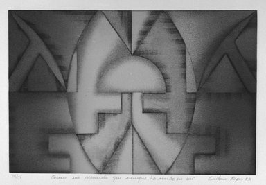 Gustavo Rojas. <em>Commo Un Recuerdo Que Siempre Ha Vivido En Mi</em>, 1983. Intaglio on paper, sheet: 15 1/16 x 20 1/8 in. (38.3 x 51.1 cm). Brooklyn Museum, Gift of the Printmaking Workshop in honor of Una E. Johnson, 84.307.12. © artist or artist's estate (Photo: Brooklyn Museum, 84.307.12_bw.jpg)