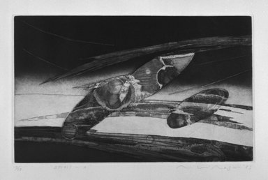 Miki Nagano. <em>Spirit-A</em>, 1983. Aquatint on paper, sheet: 15 1/16 x 20 1/8 in. (38.3 x 51.1 cm). Brooklyn Museum, Gift of the Printmaking Workshop in honor of Una E. Johnson, 84.307.8. © artist or artist's estate (Photo: Brooklyn Museum, 84.307.8_bw.jpg)
