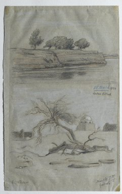 Elihu Vedder (American, 1836-1923). <em>Nile</em>, March 1890. Colored pencil on thin, smooth, wove pulp paper with some blue dyed fibers, Sheet: 12 7/8 x 8 in. (32.7 x 20.3 cm). Brooklyn Museum, Healy Purchase Fund B, 84.308 (Photo: Brooklyn Museum, 84.308_PS2.jpg)