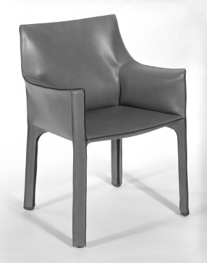 Cassina. <em>Cab Armchair</em>, 1977-1979. Steel frame with bordeaux Russian leather upholstery, 31 3/4 x 22 1/2 x 20 in. (80.6 x 57.2 x 50.8 cm). Brooklyn Museum, Gift of Atelier International, Ltd., 84.31. Creative Commons-BY (Photo: Brooklyn Museum, 84.31_bw.jpg)