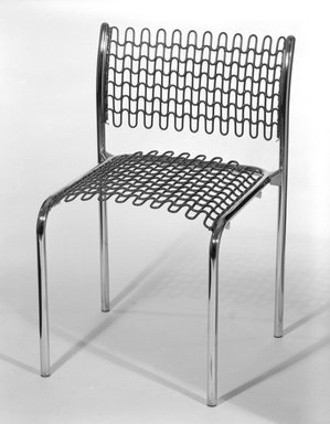 "David Rowland (American, born 1924). <em>""Sof-Tech"" Side Chair</em>, Designed 1979. Tubular steel, PVC coated steel, 29 3/4 x 19 3/4 x 16 7/8 in. (75.6 x 50.2 x 42.9 cm). Brooklyn Museum, Gift of Thonet, 84.33.1. Creative Commons-BY (Photo: Brooklyn Museum, 84.33.1_bw.jpg)"