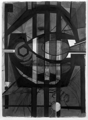 Howard Hancock Newman (American, 1943). <em>Clamp</em>, 1983. Acrylic, charcoal and collage on paper, 30 1/8 x 22 1/4 in. (76.5 x 56.5 cm). Brooklyn Museum, Gift of the Charles Z. Offin Art Fund, 84.39. © artist or artist's estate (Photo: Brooklyn Museum, 84.39_bw.jpg)
