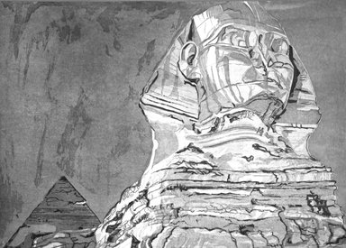 Philip Pearlstein (American, born 1924). <em>The Sphinx. (A series of 22 trial proofs leading to final state)</em>, 1978-1979. Etching, aquatint, roulette on Arches paper, 30 3/16 x 40 3/16 in. (76.6 x 102.1 cm). Brooklyn Museum, Gift of Martin Meltzer, 84.42.3. © artist or artist's estate (Photo: Brooklyn Museum, 84.42.3_bw.jpg)