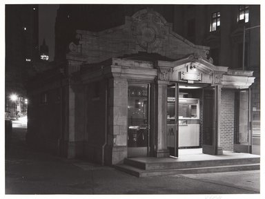 Irwin Silver (American, born 1945). <em>Subway Kiosk, Bowling Green, NYC, Spring, 1980, 7:30 A.M.</em>. Gelatin silver photograph, image: 6 15/16 × 9 7/16 in. (17.6 × 23.9 cm). Brooklyn Museum, Gift of the artist, 84.44.2. © artist or artist's estate (Photo: , 84.44.2_PS11.jpg)