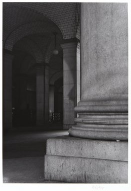 Irwin Silver (American, born 1945). <em>Municipal Building, New York City, Spring 1982, April 4, 1982, 5 A.M.</em>. Gelatin silver photograph, image: 12 11/16 × 6 5/16 in. (32.2 × 16.1 cm). Brooklyn Museum, Gift of the artist, 84.44.6. © artist or artist's estate (Photo: , 84.44.6_PS11.jpg)