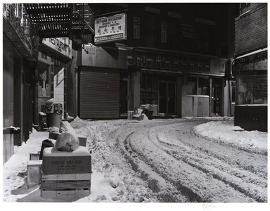 Irwin Silver (American, born 1945). <em>Doyers Street, New York City, January 15, 1982, A.M.</em>. Gelatin silver photograph, image: 9 9/16 × 12 5/8 in. (24.3 × 32.1 cm). Brooklyn Museum, Gift of the artist, 84.44.8. © artist or artist's estate (Photo: , 84.44.8_PS11.jpg)