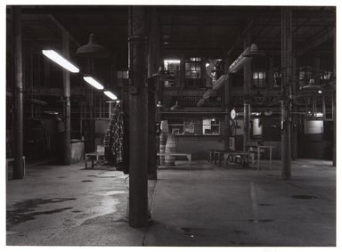 Irwin Silver (American, born 1945). <em>Fulton Fish Market, New York City, August 24, 1983, 11:30 P.M.</em>, 1983. Gelatin silver photograph, image: 9 1/8 × 12 9/16 in. (23.1 × 31.9 cm). Brooklyn Museum, Gift of the artist, 84.44.9. © artist or artist's estate (Photo: , 84.44.9_PS11.jpg)