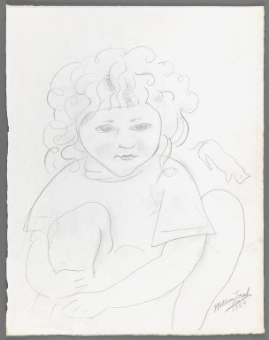William Zorach (American, born Lithuania, 1887-1966). <em>Dahlov with Cat</em>, 1920. Graphite on paper, Sheet: 15 7/16 x 12 1/16 in. (39.2 x 30.6 cm). Brooklyn Museum, Gift of William Bloom, 84.46.18. © artist or artist's estate (Photo: Brooklyn Museum, 84.46.18_IMLS_PS3.jpg)