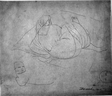 William Zorach (American, born Lithuania, 1887-1966). <em>Mother and Child</em>, 1915. Graphite on paper, Sheet: 10 7/16 x 12 5/16 in. (26.5 x 31.3 cm). Brooklyn Museum, Gift of William Bloom, 84.46.4. © artist or artist's estate (Photo: Brooklyn Museum, 84.46.4_bw.jpg)