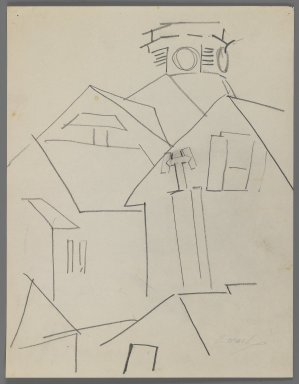 William Zorach (American, born Lithuania, 1887-1966). <em>Lighthouse in Provincetown</em>, 1918. Graphite on paper, Sheet: 10 15/16 x 8 1/2 in. (27.8 x 21.6 cm). Brooklyn Museum, Gift of William Bloom, 84.46.7. © artist or artist's estate (Photo: Brooklyn Museum, 84.46.7_IMLS_PS3.jpg)