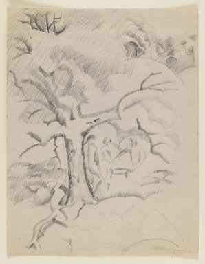 William Zorach (American, born Lithuania, 1887-1966). <em>Three Figures Under a Tree</em>, 1917. Graphite on beige, medium-weight, slightly textured wove paper., Sheet: 11 1/16 x 8 1/2 in. (28.1 x 21.6 cm). Brooklyn Museum, Gift of William Bloom, 84.46.8. © artist or artist's estate (Photo: Brooklyn Museum, 84.46.8_IMLS_PS3.jpg)