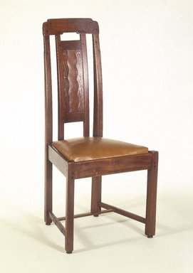 Charles Sumner Greene (American, 1868-1957). <em>Side Chair</em>, ca. 1907. Honduras mahogany, ebony, with inlay of silver, abalone, copper, pewter, and exotic woods, 43 1/2 x 21 1/2 x 19 1/2 in. (110.5 x 54.5 x 49.5 cm). Brooklyn Museum, Designated Purchase Fund, 84.66. Creative Commons-BY (Photo: Brooklyn Museum, 84.66_SL1.jpg)