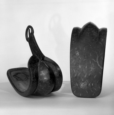 <em>Pair of Stirups</em>, 17th century. Iron, with brass inlay, lacquer, 10 x 11 1/2 in. (25.4 x 29.2 cm). Brooklyn Museum, Gift of Dr. and Mrs. John P. Lyden, 84.69.2a-b. Creative Commons-BY (Photo: Brooklyn Museum, 84.69.2a-b_bw.jpg)