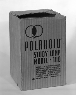 Polaroid Corporation. <em>Table Lamp</em>, mid 1930s. Plastic, metal, and paper, 13 x 11 x 5 1/2 in. (33 x 27.9 x 14 cm). Brooklyn Museum, Gift of Fifty/50, 84.6. Creative Commons-BY (Photo: Brooklyn Museum, 84.6_box_bw.jpg)