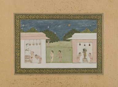 <em>Krishna Stealing Curds</em>, ca.1775. Opaque watercolors and gold on paper, 5 1/4 x 8 3/8 in. (13.4 x 21.2 cm). Brooklyn Museum, Gift of Dr. and Mrs. James R. Miller, 84.71 (Photo: Brooklyn Museum, 84.71_IMLS_PS4.jpg)