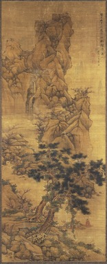 Lan Ying. <em>Landscape</em>, 1653. Hanging scroll painting, ink and color on silk, 66 x 26 1/2in. (167.6 x 67.3cm). Brooklyn Museum, Gift of Stanley Herzman, by exchange, Frederick Loeser Fund and Designated Purchase Fund, 84.72 (Photo: Brooklyn Museum, 84.72_SL1.jpg)