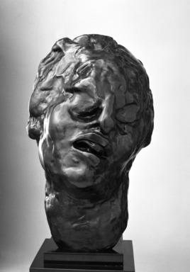 Auguste Rodin (French, 1840-1917). <em>Head of the Tragic Muse (Tête de la Muse tragique)</em>, 1895; cast 1979. Bronze, 11 5/8 x 7 1/4 x 9 7/8 in.  (29.5 x 18.4 x 25.1 cm). Brooklyn Museum, Gift of the Iris and B. Gerald Cantor Foundation, 84.75.12. Creative Commons-BY (Photo: Brooklyn Museum, 84.75.12_bw.jpg)