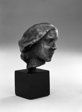 Auguste Rodin (French, 1840-1917). <em>Head of a Woman with a Chignon (Tête de Femme au chignon)</em>, ca. 1890-1900; cast 1971. Bronze, 2 1/4 × 1 1/2 × 2 1/8 in., 0.5 lb. (5.7 × 3.8 × 5.4 cm). Brooklyn Museum, Gift of the Iris and B. Gerald Cantor Foundation, 84.75.13. Creative Commons-BY (Photo: Brooklyn Museum, 84.75.13_bw.jpg)