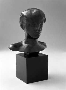 Auguste Rodin (French, 1840-1917). <em>Bust of the Zoubaloff Bather (Tête de baigneuse Zoubaloff)</em>, model date unknown; cast 1972 or later. Bronze, 3 3/4 × 3 3/4 × 2 1/2 in., 0.5 lb. (9.5 × 9.5 × 6.4 cm). Brooklyn Museum, Gift of the Iris and B. Gerald Cantor Foundation, 84.75.15. Creative Commons-BY (Photo: Brooklyn Museum, 84.75.15_bw.jpg)