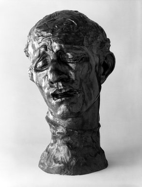 Auguste Rodin (French, 1840-1917). <em>Pierre de Wiessant, Colossal Head (Pierre de Wissant, tête colossale)</em>, ca. 1910; cast 1973. Bronze, 32 3/8 x 19 1/2 x 21 1/4 in. (82.2 x 49.5 x 54 cm). Brooklyn Museum, Gift of the Iris and B. Gerald Cantor Foundation, 84.75.20. Creative Commons-BY (Photo: Brooklyn Museum, 84.75.20_bw.jpg)