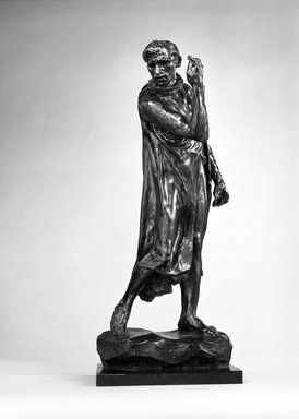 Auguste Rodin (French, 1840-1917). <em>Pierre de Wiessant, Second Maquette (Pierre de Wissant, deuxième maquette)</em>, 1885; cast 1970. Bronze, 27 1/4 x 11 3/4 x 11 in.  (69.2 x 29.8 x 27.9 cm). Brooklyn Museum, Gift of the Iris and B. Gerald Cantor Foundation, 84.75.21. Creative Commons-BY (Photo: Brooklyn Museum, 84.75.21_bw.jpg)