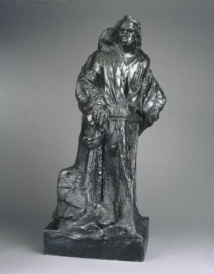 Auguste Rodin (French, 1840-1917). <em>Balzac in a Monk's Habit (Balzac en robe de moine)</em>, ca. 1893; cast 1971. Bronze, 41 7/8 x 19 3/4 x 15 1/2in. (106.4 x 50.2 x 39.4cm). Brooklyn Museum, Gift of the Iris and B. Gerald Cantor Foundation, 84.75.22. Creative Commons-BY (Photo: Brooklyn Museum, 84.75.22_SL1.jpg)