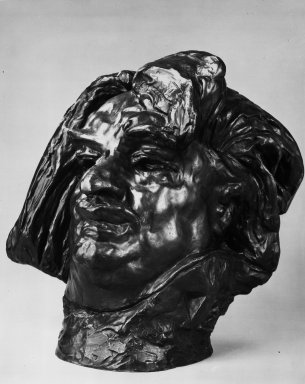 Auguste Rodin (French, 1840-1917). <em>Balzac, Monumental Head (Balzac, tête monumentale)</em>, 1898; cast 1979. Bronze, 20 x 17 1/2 x 16 in.  (50.8 x 44.5 x 40.6 cm). Brooklyn Museum, Gift of the Iris and B. Gerald Cantor Foundation, 84.75.23. Creative Commons-BY (Photo: Brooklyn Museum, 84.75.23_view2_bw.jpg)